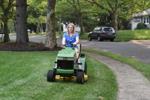 Jill Mowing Lawn